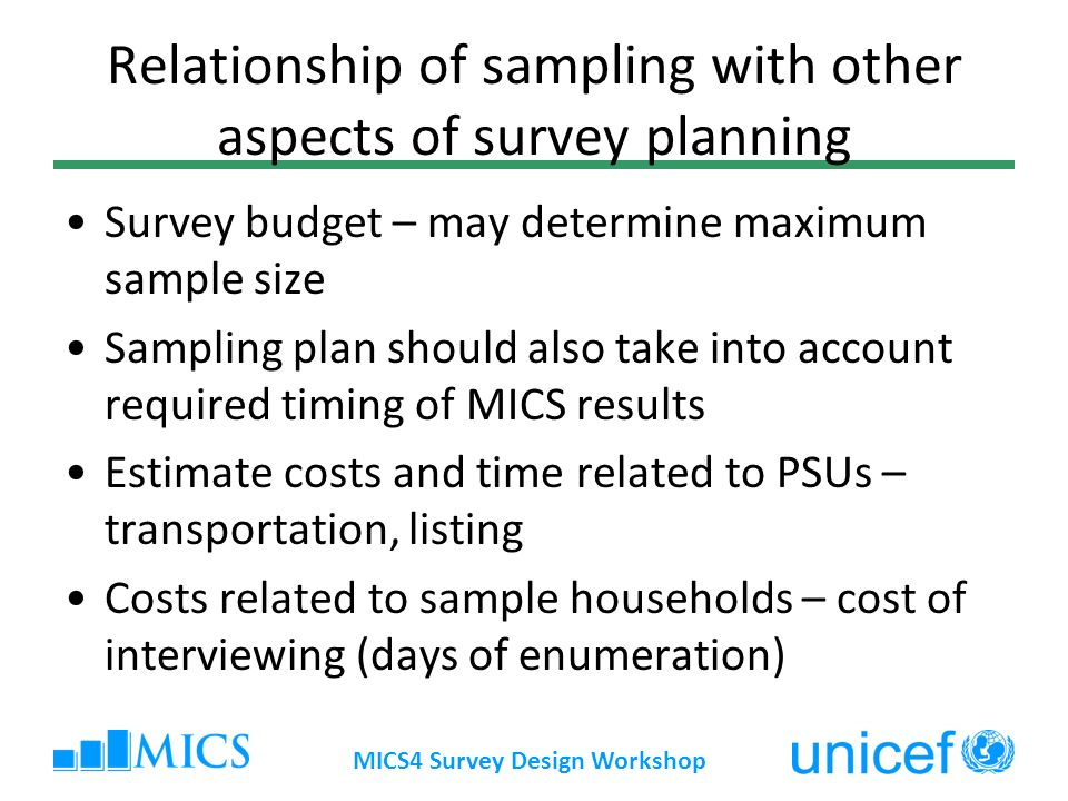 Relationship of sampling with other aspects of survey planning