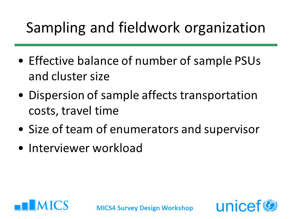 Sampling and fieldwork organization