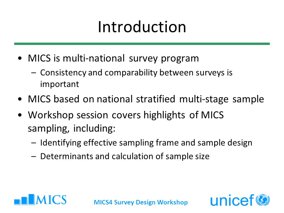 MICS4 Survey Design Workshop