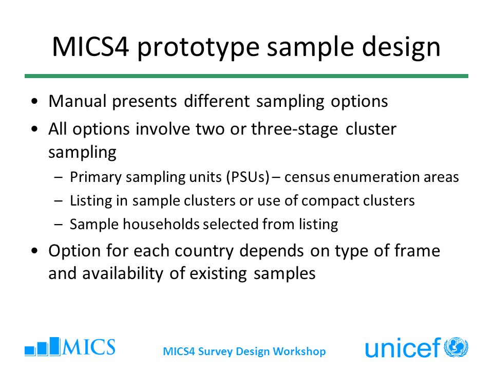 MICS4 prototype sample design