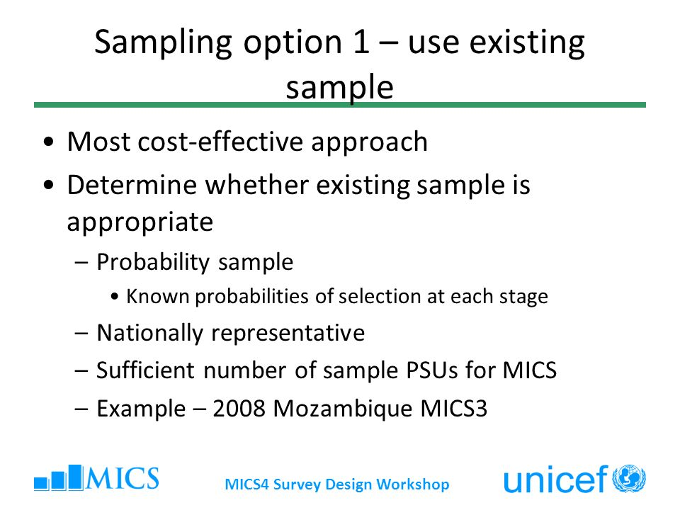 Sampling option 1 – use existing sample