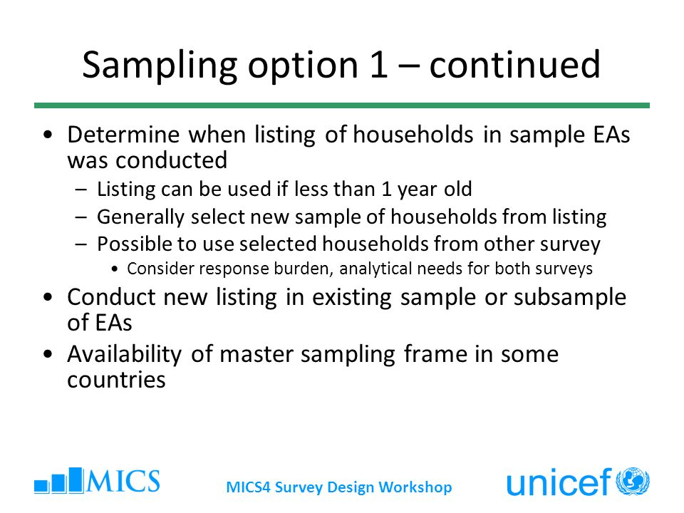 Sampling option 1 – continued