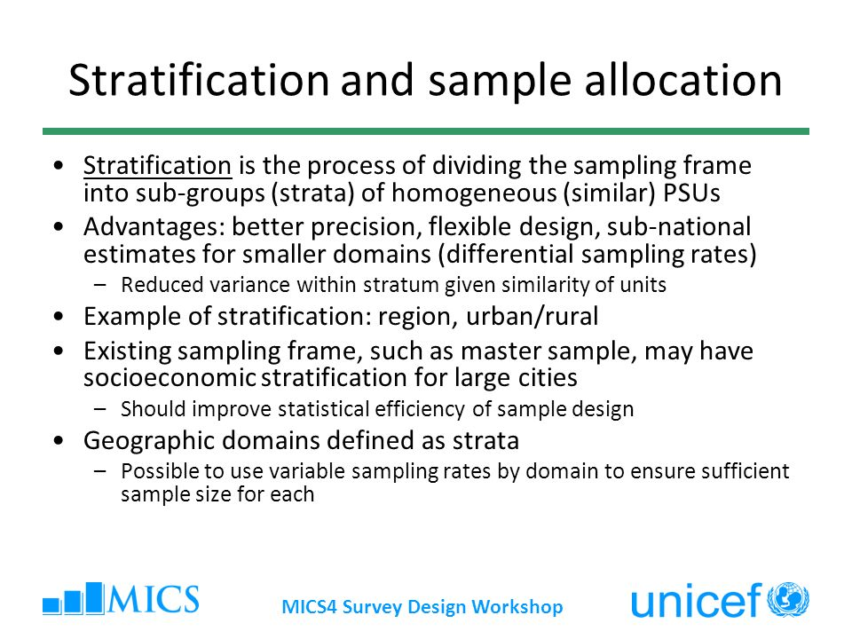 Stratification and sample allocation