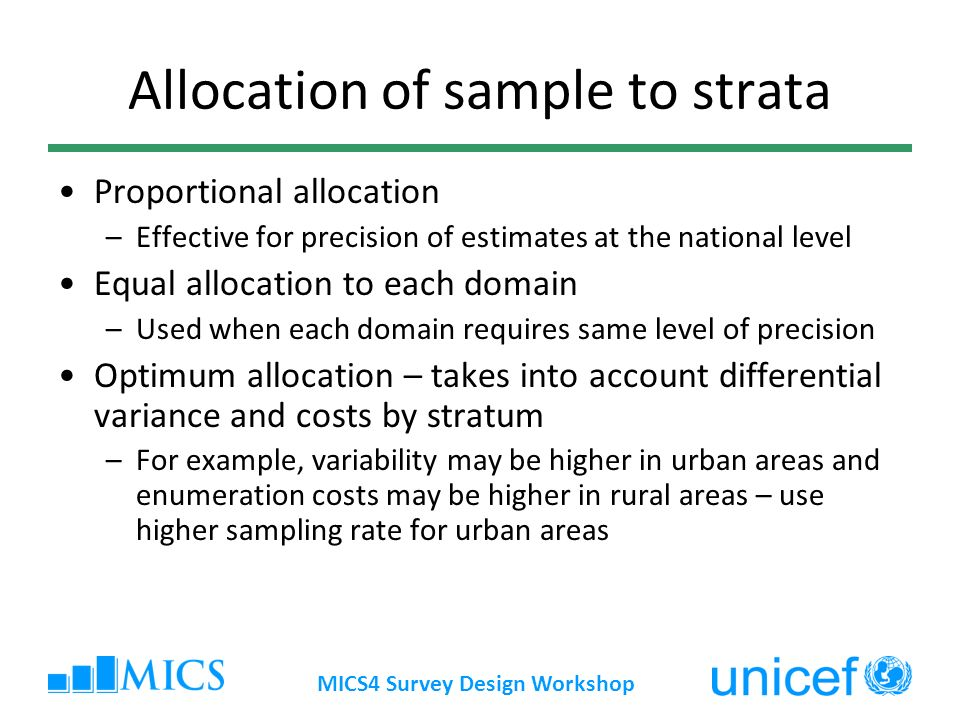 Allocation of sample to strata