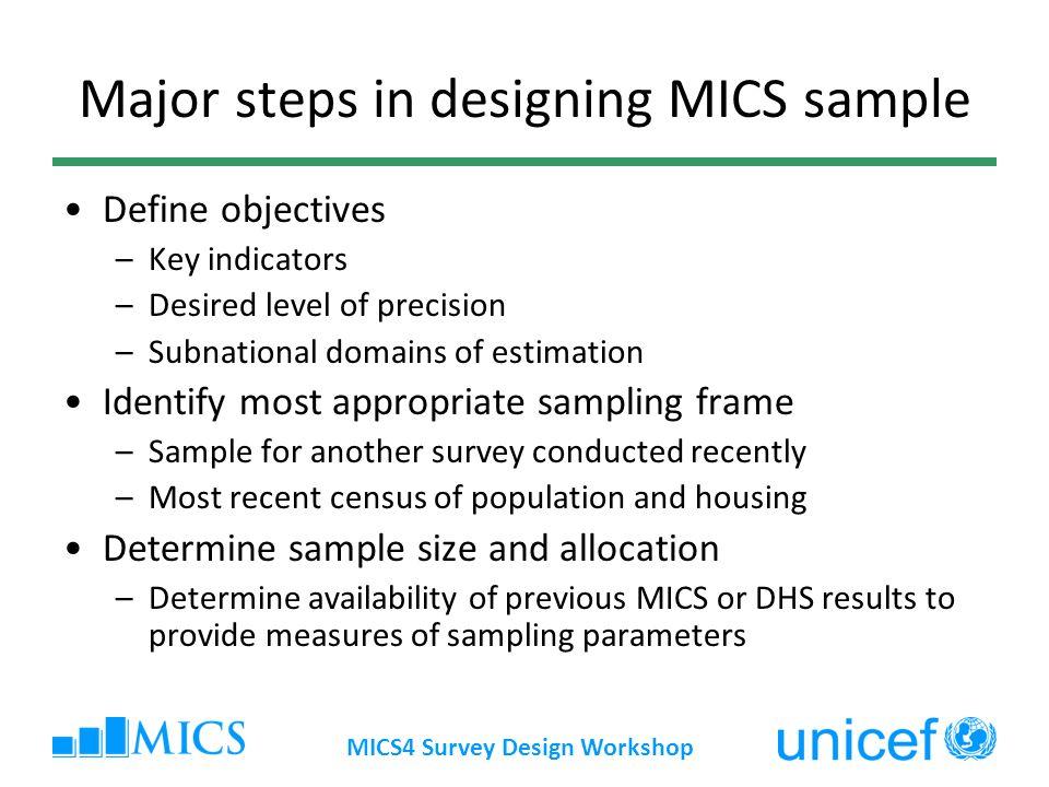 Major steps in designing MICS sample