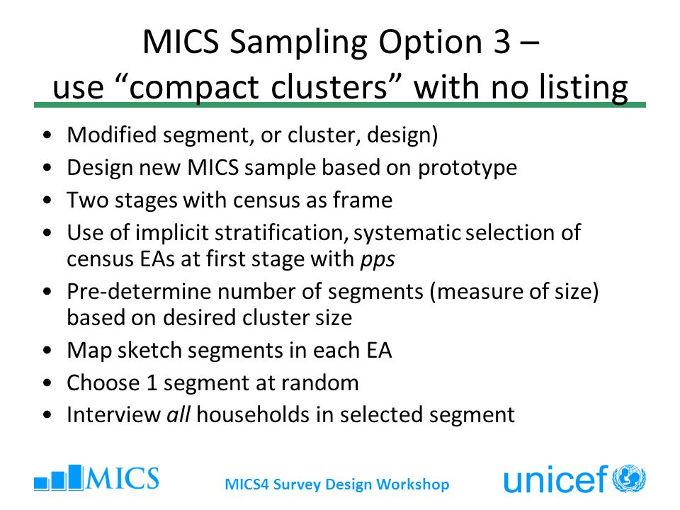 MICS Sampling Option 3 – use compact clusters with no listing