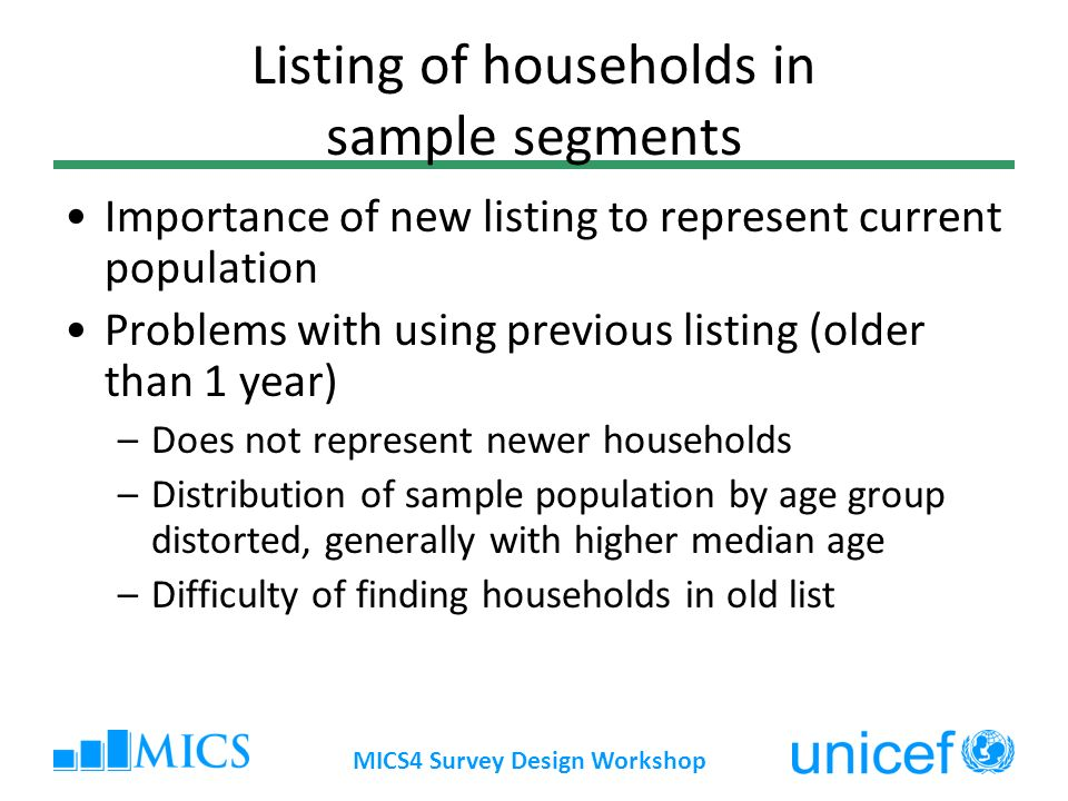 Listing of households in sample segments