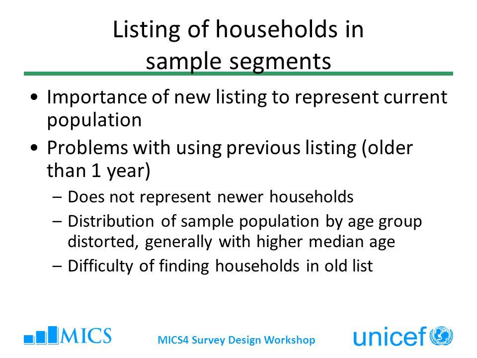 Listing of households in sample segments
