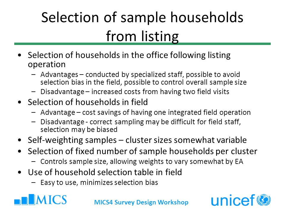 Selection of sample households from listing