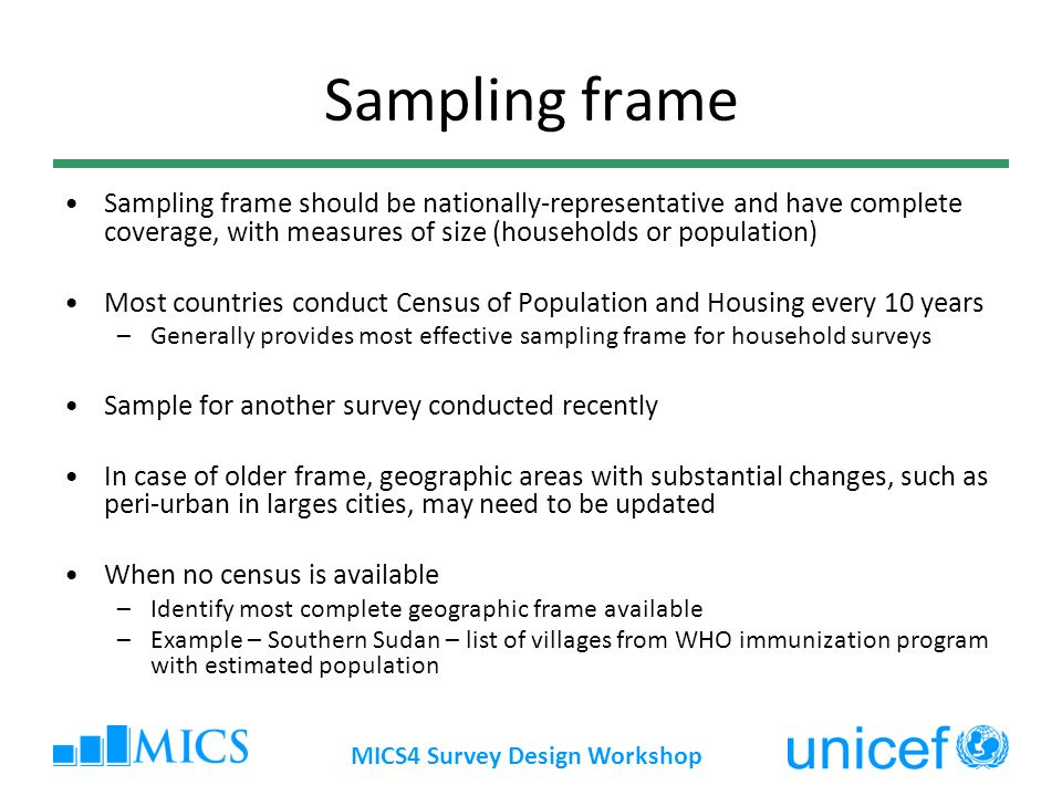 Multiple indicator cluster surveys survey design workshop for Household survey questionnaire design
