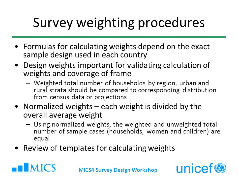 Survey weighting procedures
