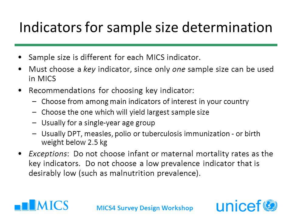 Indicators for sample size determination