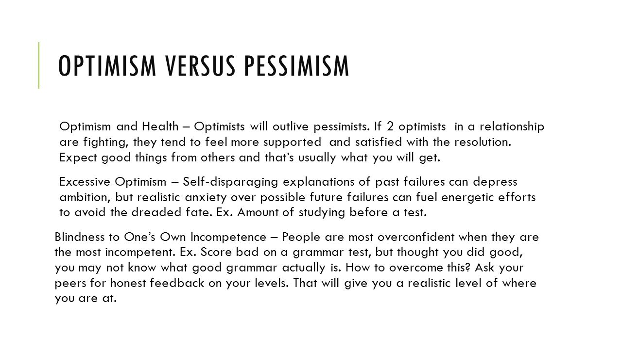 optimism and pessimism relationship problems