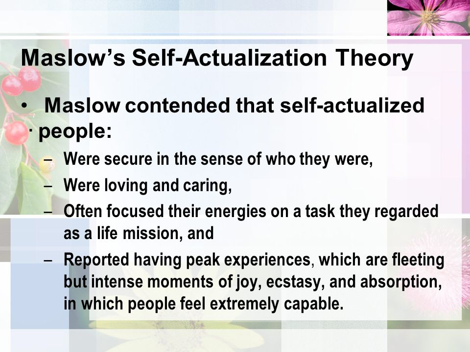 maslow self actualized essay This is not an example of the work written by our professional essay writers you can view maslow self actualization, self is the weakest needs and people are usually afraid of the self knowledge for self actualization that may change their self-concept in self actualization.