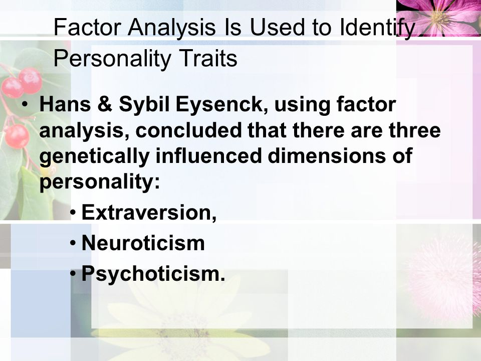 """an overview of personality using the five personality dimensions Introduction the five-factor model of personality (ffm) is a set of five broad trait dimensions or domains, often referred to as the """"big five"""": the big five/ffm was developed to represent as much of the variability in individuals' personalities as possible, using only a small set of trait dimensions."""