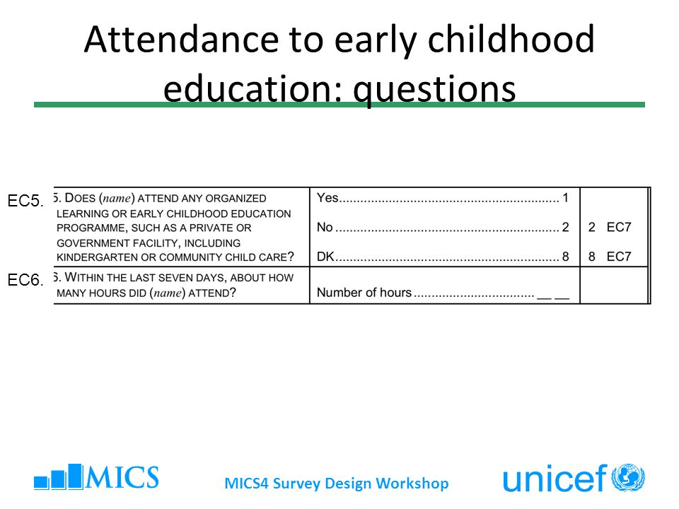 Attendance to early childhood education: questions