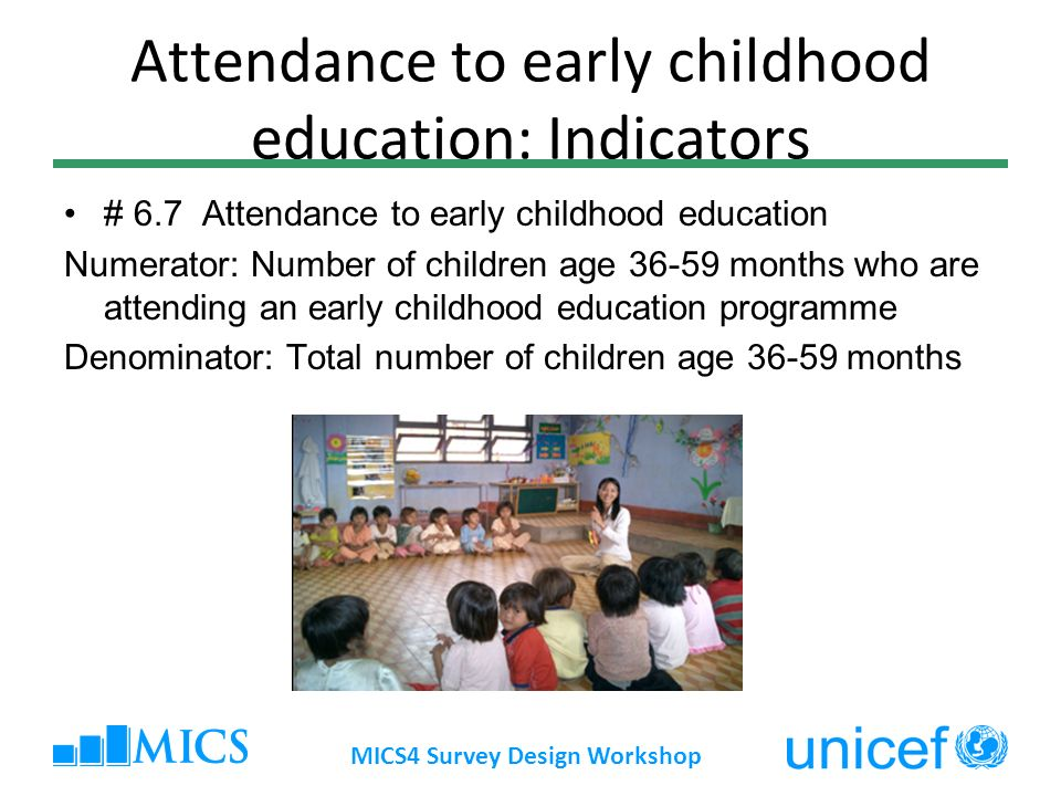 Attendance to early childhood education: Indicators