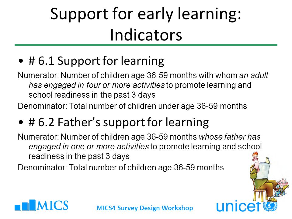 Support for early learning: Indicators