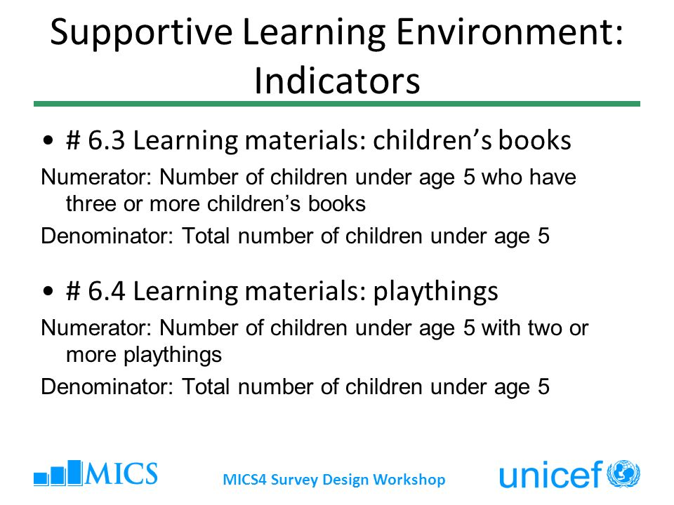 Supportive Learning Environment: Indicators