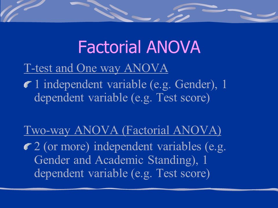 factorial anova results Anova this example teaches you how to perform a single factor anova (analysis of variance) in excel  a single factor or one-way anova is used to test the null hypothesis that the means of several populations are all equal.