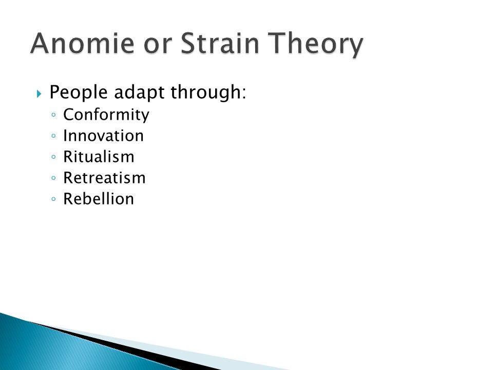 mertons theory of anomie girl gangs To explain female crime to a certain extent  1 anomie theory 2  robert  merton's anomie theory first appeared in the article social structure and anomie  in.