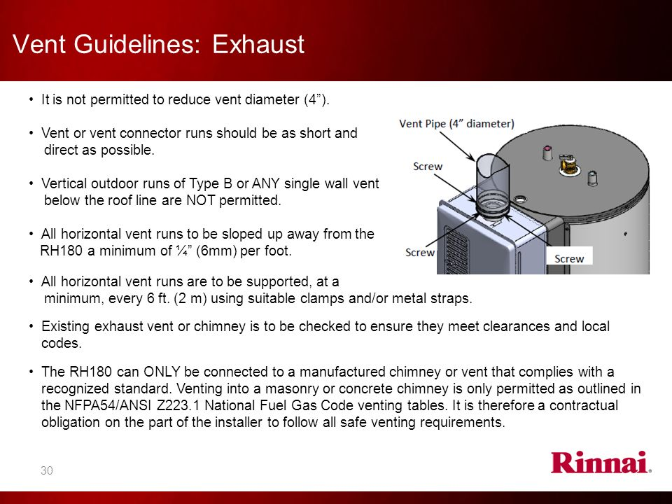 Rinnai america also provides the following websites for for Table 6 4 minimum exhaust rates