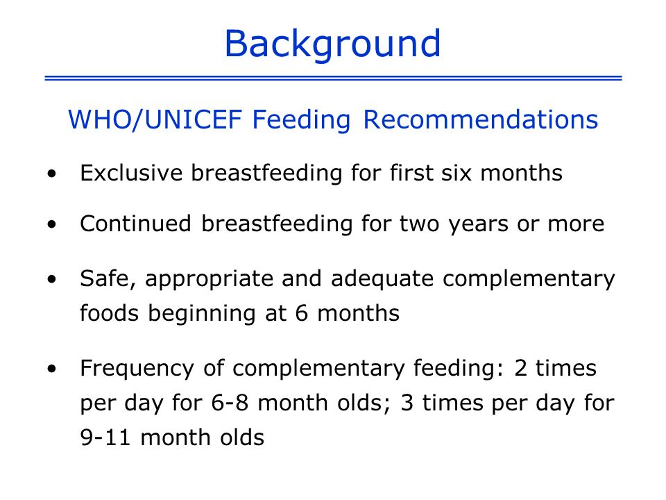 WHO/UNICEF Feeding Recommendations