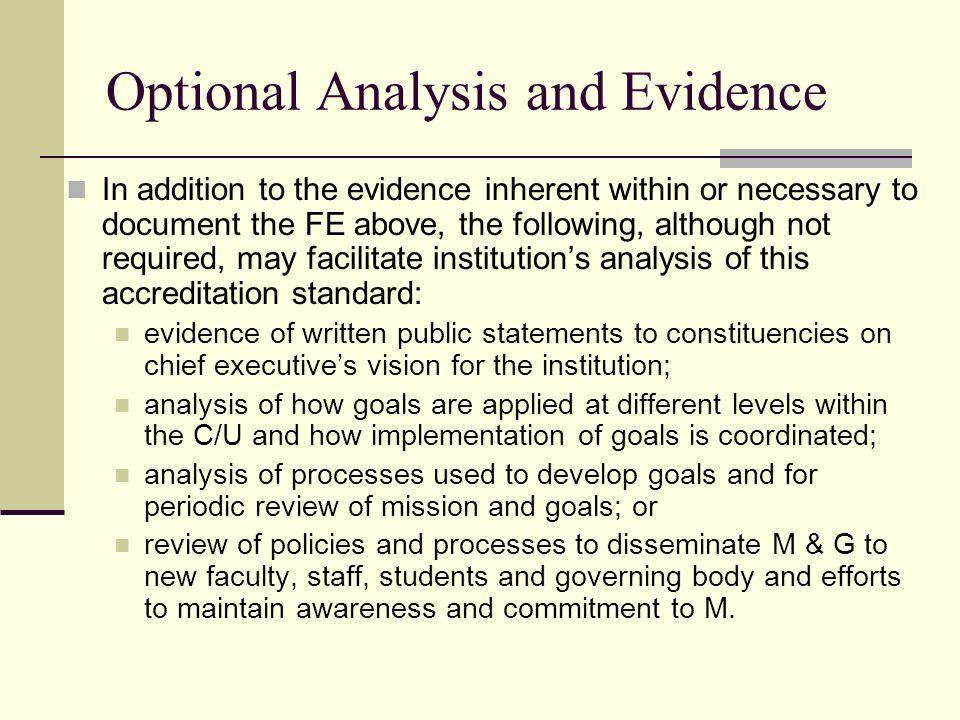 Optional Analysis and Evidence
