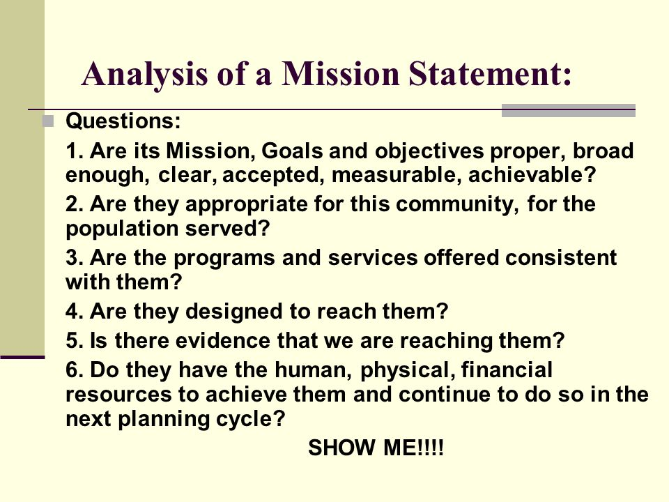 Analysis of a Mission Statement: