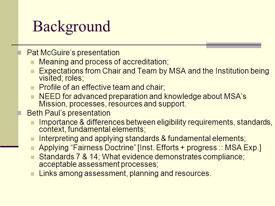 Background Pat McGuire's presentation