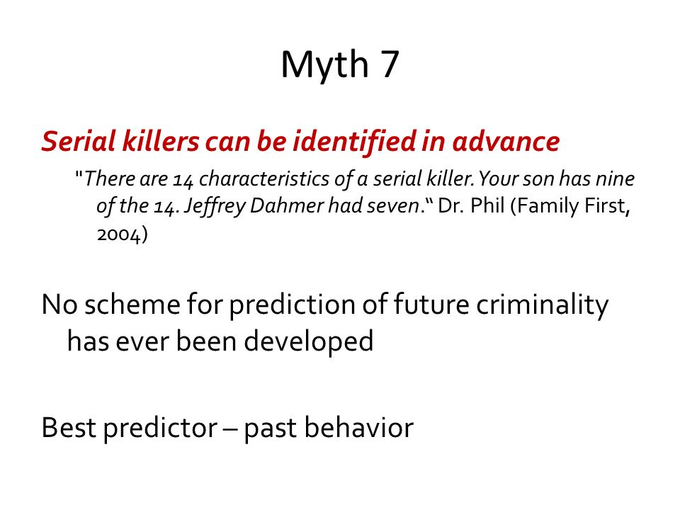 serial killers ppt video online  myth 7 serial killers can be identified in advance