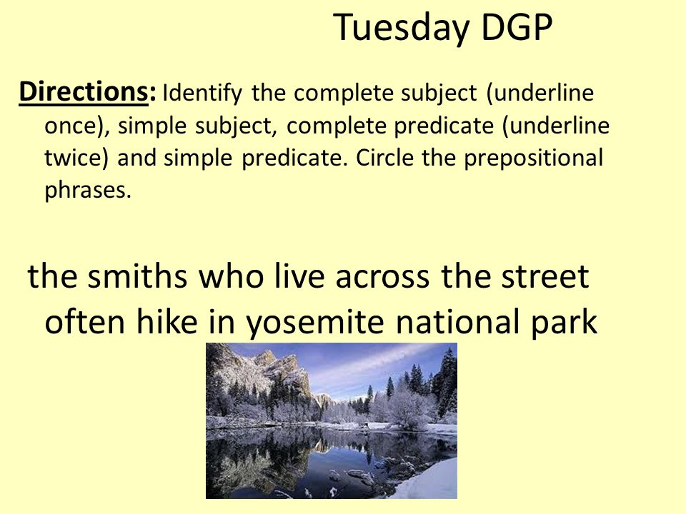 Tuesday DGP