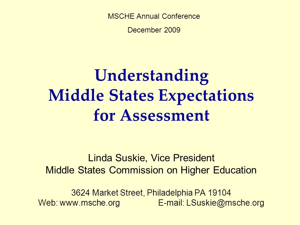 Understanding Middle States Expectations for Assessment