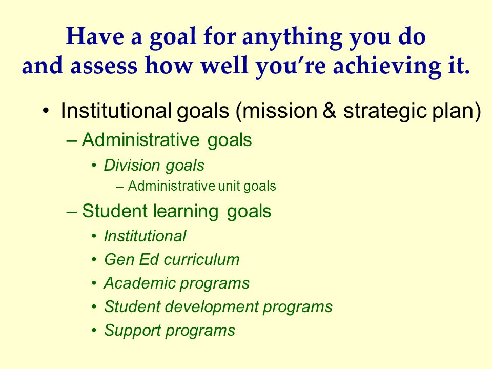 Have a goal for anything you do and assess how well you're achieving it.