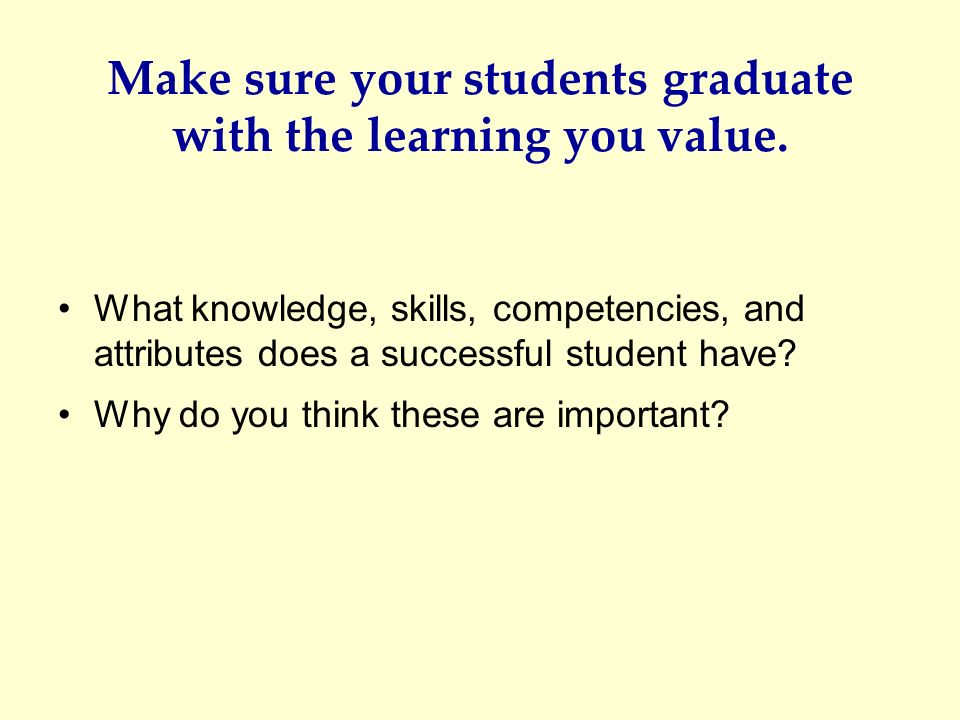 Make sure your students graduate with the learning you value.