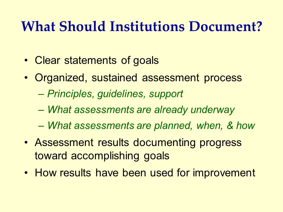 What Should Institutions Document