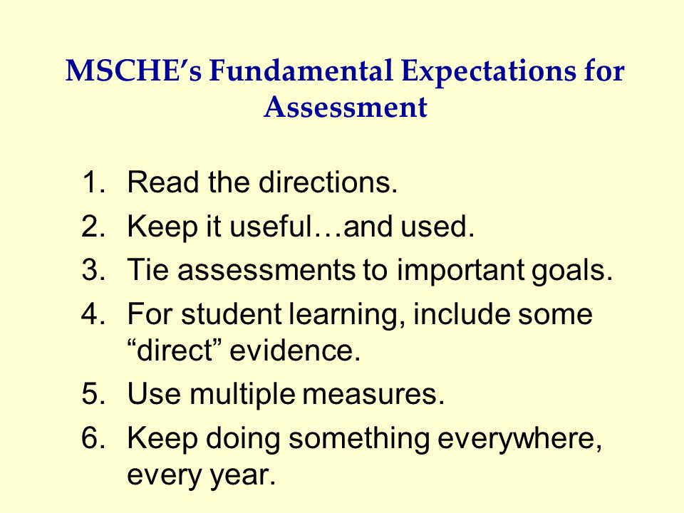 MSCHE's Fundamental Expectations for Assessment