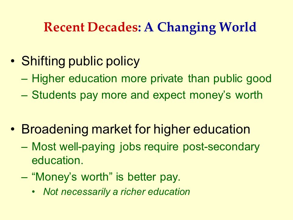 Recent Decades: A Changing World
