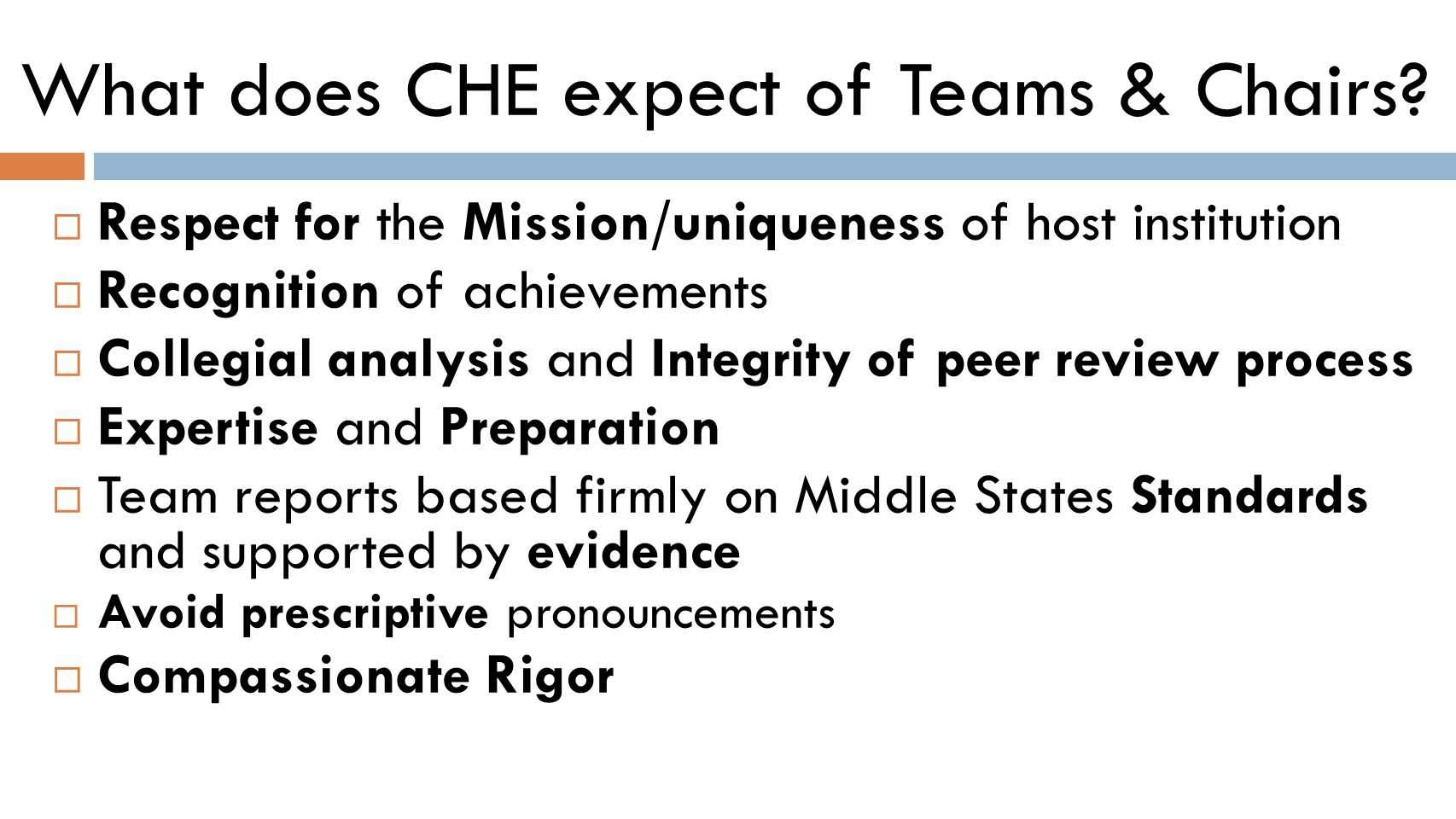 What does CHE expect of Teams & Chairs