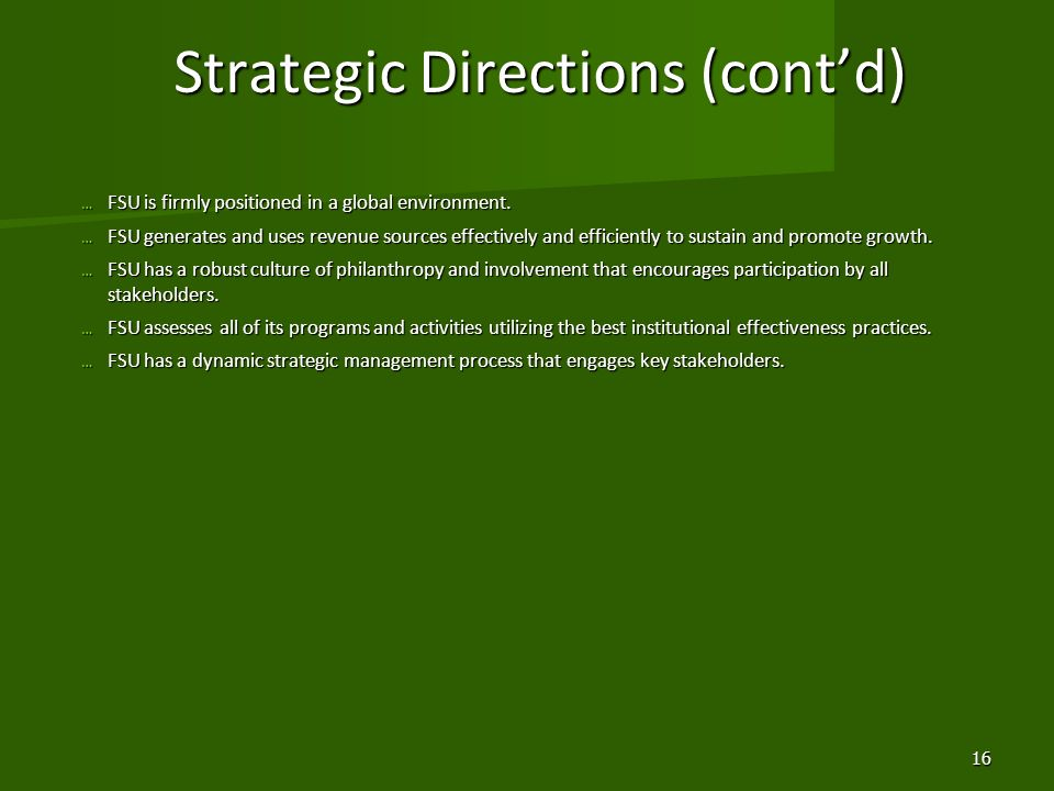 Strategic Directions (cont'd)