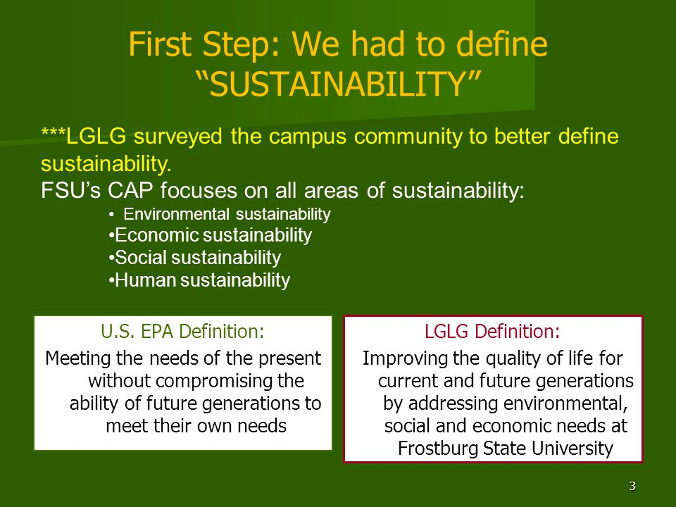 First Step: We had to define SUSTAINABILITY