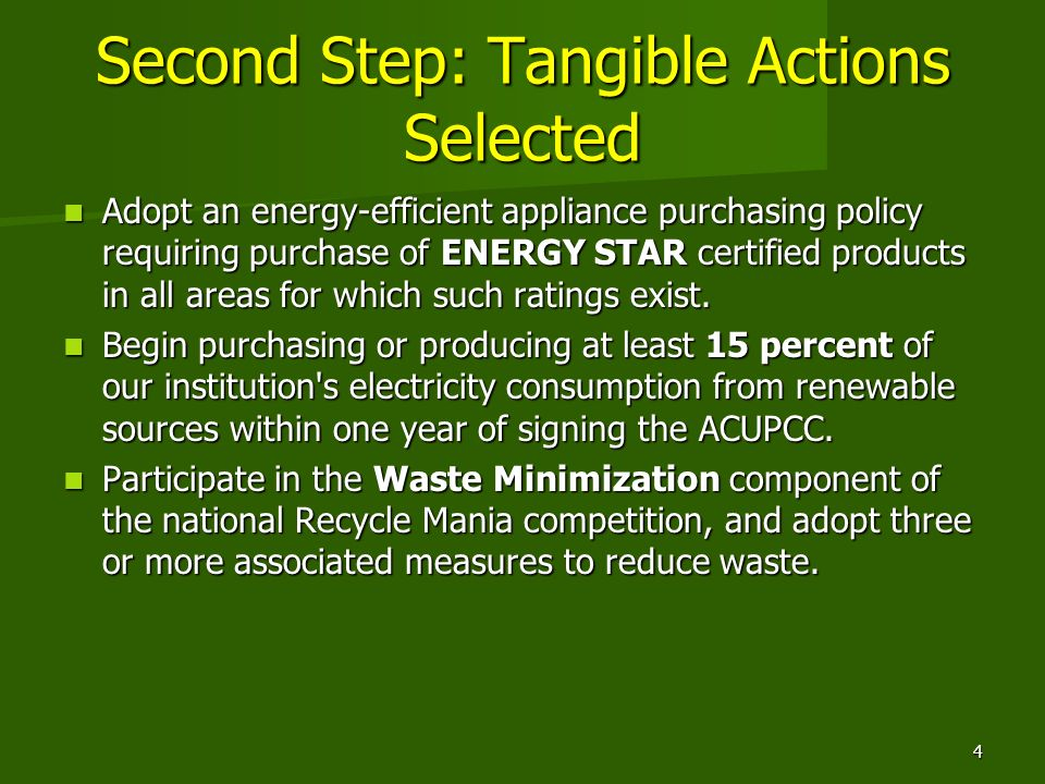Second Step: Tangible Actions Selected