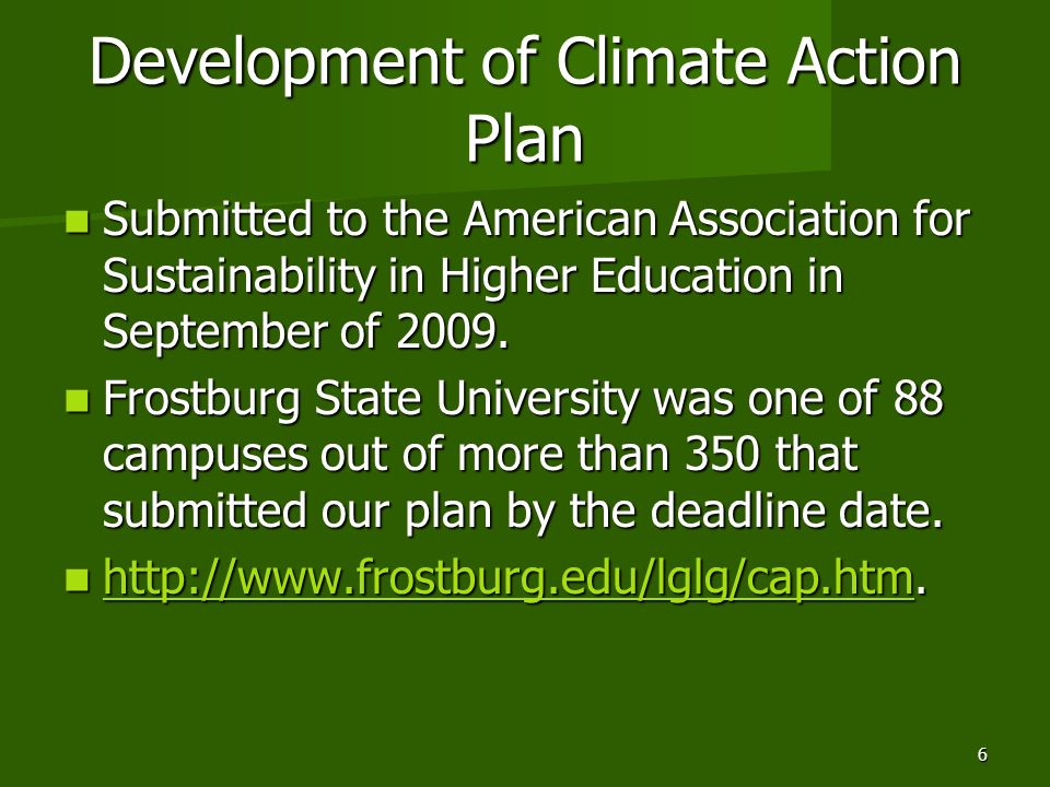 Development of Climate Action Plan