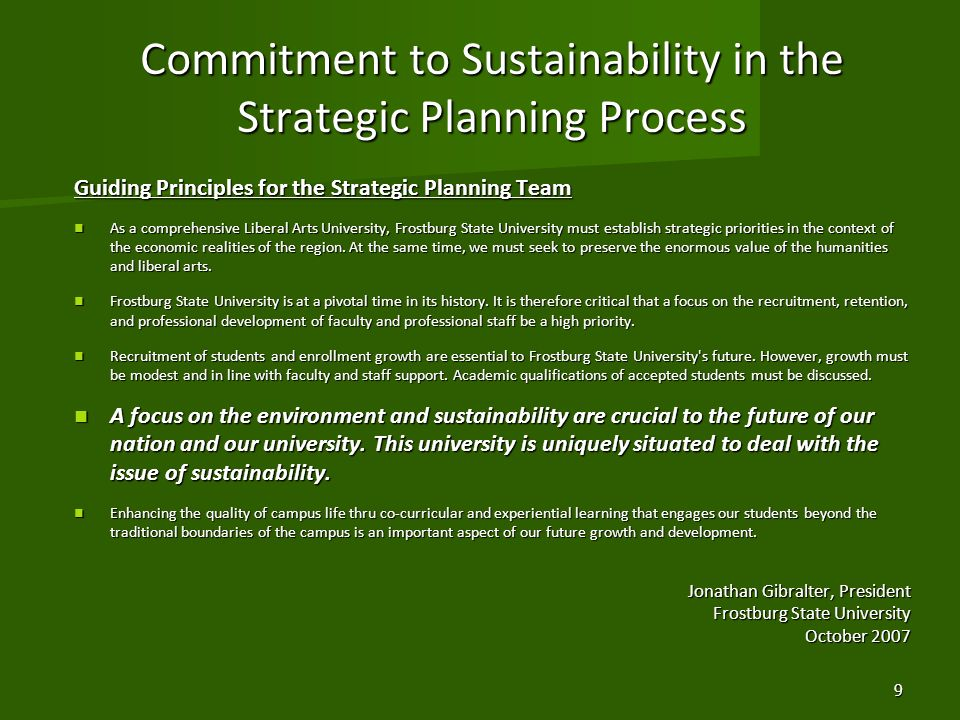 Commitment to Sustainability in the Strategic Planning Process