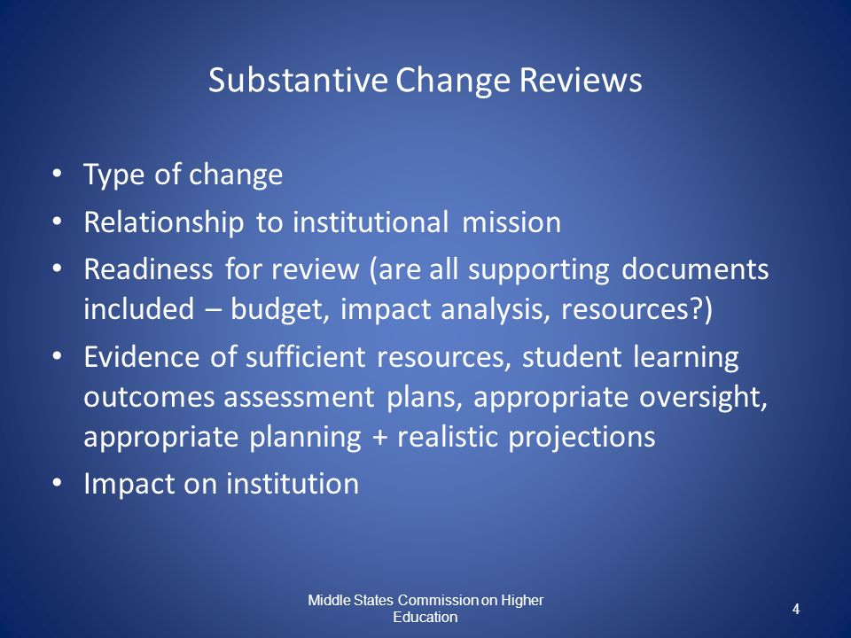 Substantive Change Reviews