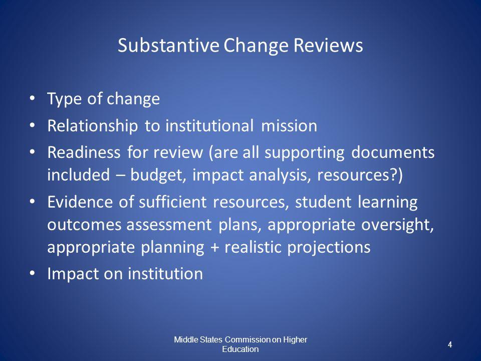Substantive Change Reviews