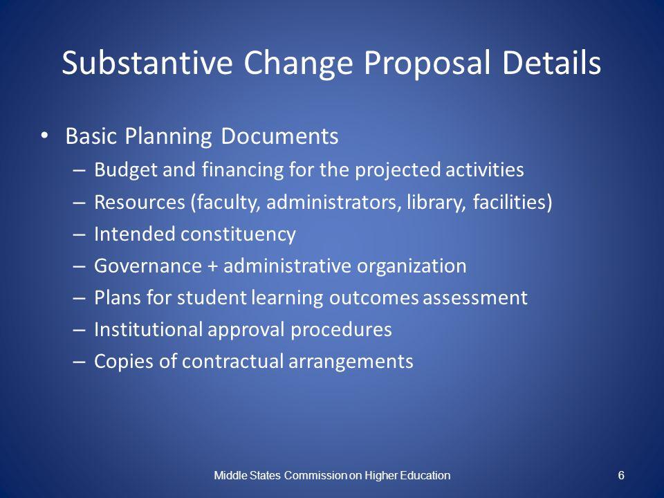 Substantive Change Proposal Details