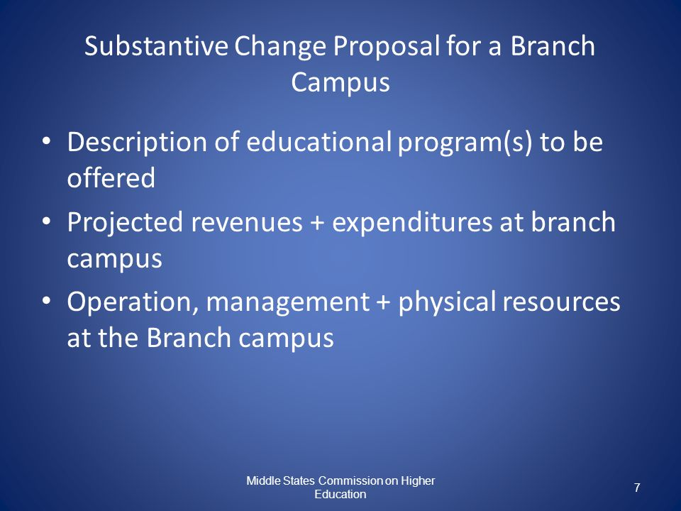 Substantive Change Proposal for a Branch Campus