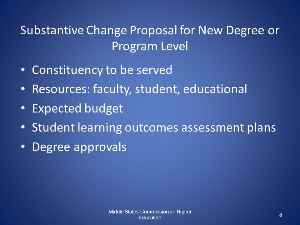Substantive Change Proposal for New Degree or Program Level
