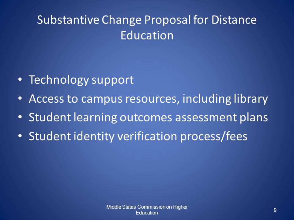 Substantive Change Proposal for Distance Education